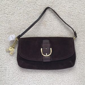 Coach new w tags Suede clutch with shoulder straps